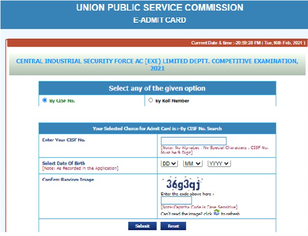 UPSC CISF AC Admit Card 2021